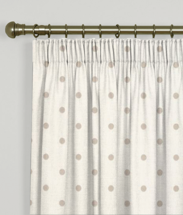 Pencil Pleat Curtains Dotty Natural