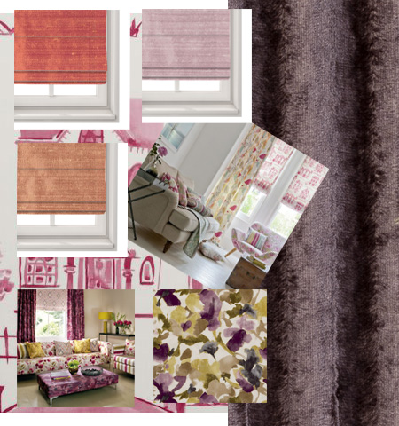 Pink Purple Roman Blinds