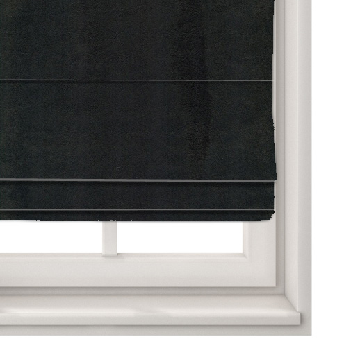 Suede Black Roman Blind